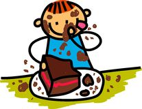 chocolate-cake-boy-whimsical-cartoon-illustration-happy-little-eating-43710904
